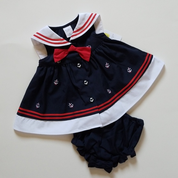 Starting Out Other - NWT baby girl sailor dress navy white red 6mo